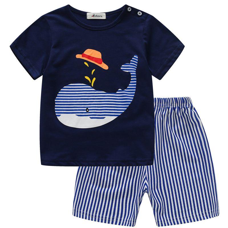 Baby Boys Girls Clothes Sets Short Sleeve Tops Shorts 2 Pcs Suits 2018 Cute Summer Cartoon Kids Clothing