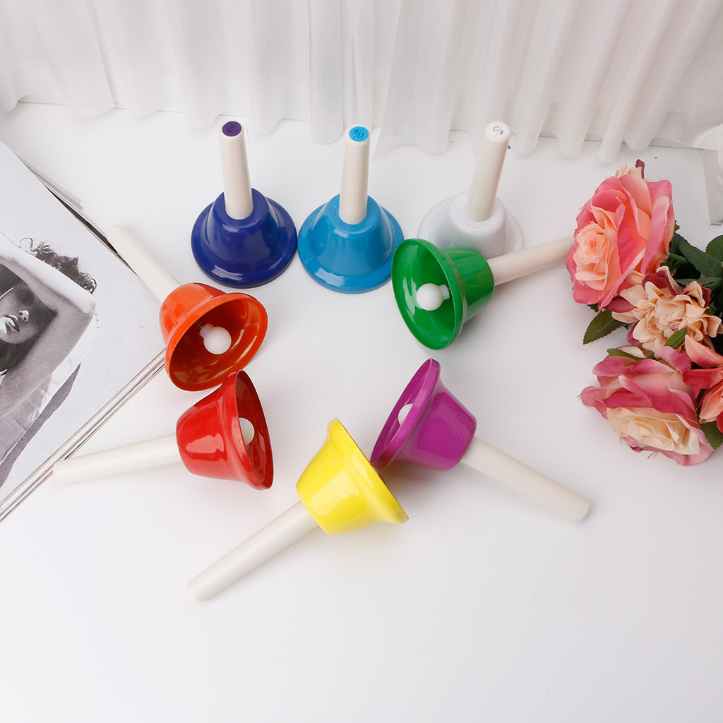 Rhythm 8 Note Hand Bell Set Musical Instrument Percussion for Child Kids Gift #20/12