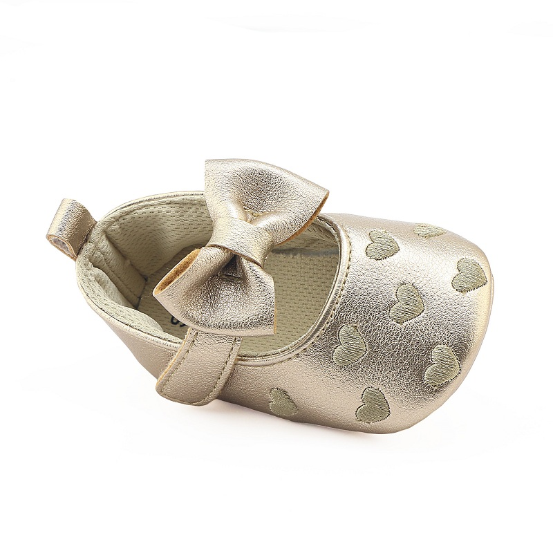 PU Leather Shoes Baby Moccasins Newborn Girl Baby Shoes Baby Girl Bows Prewalker Shoes Breathable 6-Color Inner Length:11-13cm