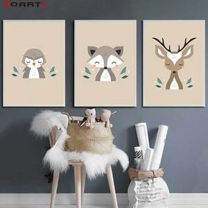 Image 3 - Forest Cartoon Animals Prints Posters Modern Wall Art Pictures Monkey Deer Fox Canvas Painting For Kids Nursery Room Home Decor