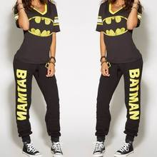 Batman Ladies Cosplay Costumes T-shirt Top Joggers Trousers Sport Gym Pants Tracksuit(China)