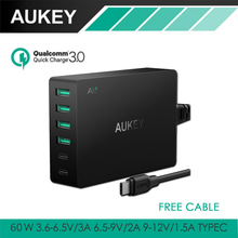 AUKEY Type-C 6-Port USB Charger with Quick Charge 3.0 & USB-C Cable 60W Quick Travel Wall Charger Type C Output for Smart Phones