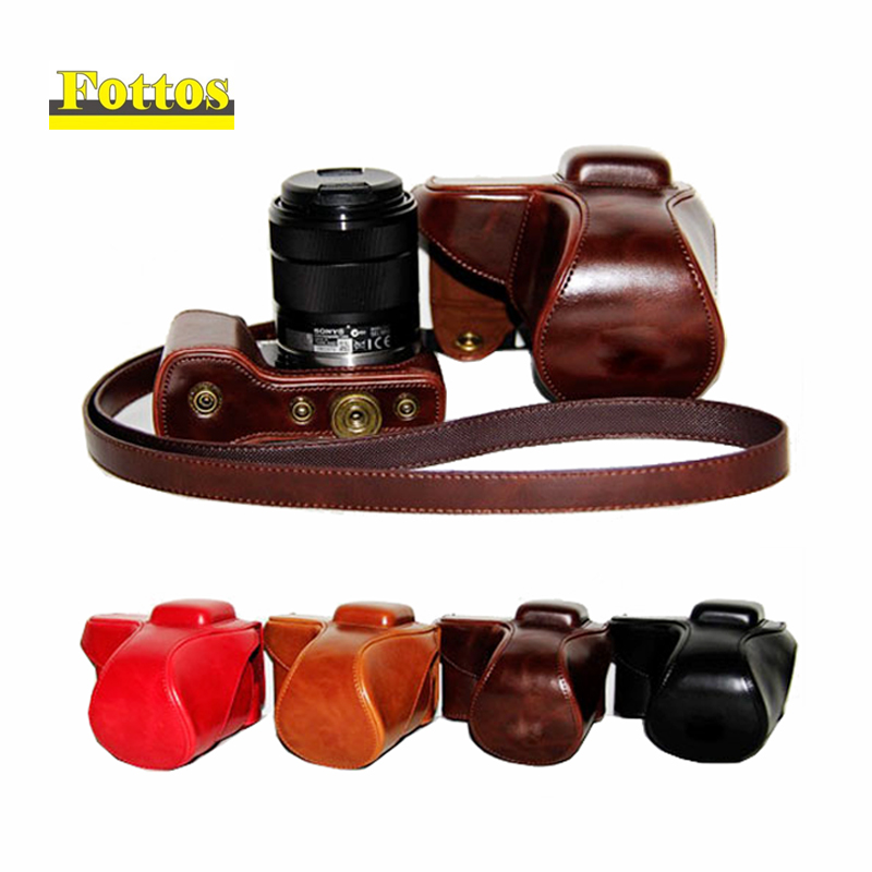 PU Leather Camera Case Bag Cover for For Sony Alpha NEX-5T NEX-5R NEX-5N NEX 5 5T 5C NEX5R NEX5N 18-55mm lens