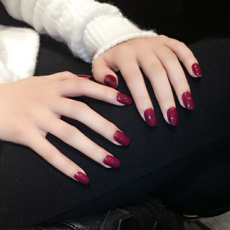 foreverlily Oval Blood Red False Nails 24pcs Medium Long Solid Nail ...