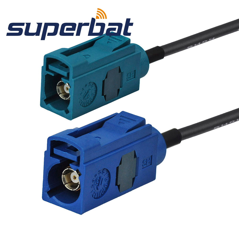Superbat Fakra C Blue Female Jack Straight To Fakra Z Waterblue Jack Straight Pigtail RG174 4m Extension Cable