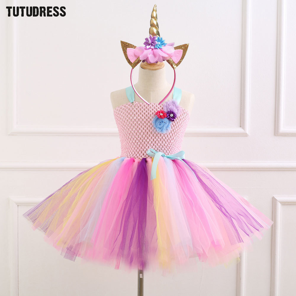 Flower Girls Tutu Dress with Headband Christmas Halloween Rainbow Pony  Unicorn Costume Girls Kids Birthday Party 2c28f150449f