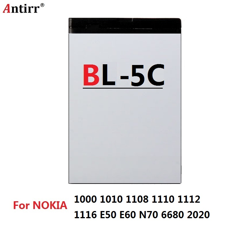 3.7V 1020mAh BL-5C Li-ion Battery For Nokia 1000 1010 1108 1110 1112 1116 E50 E60 N70 6680 2020 BL5C BL 5C Batteries