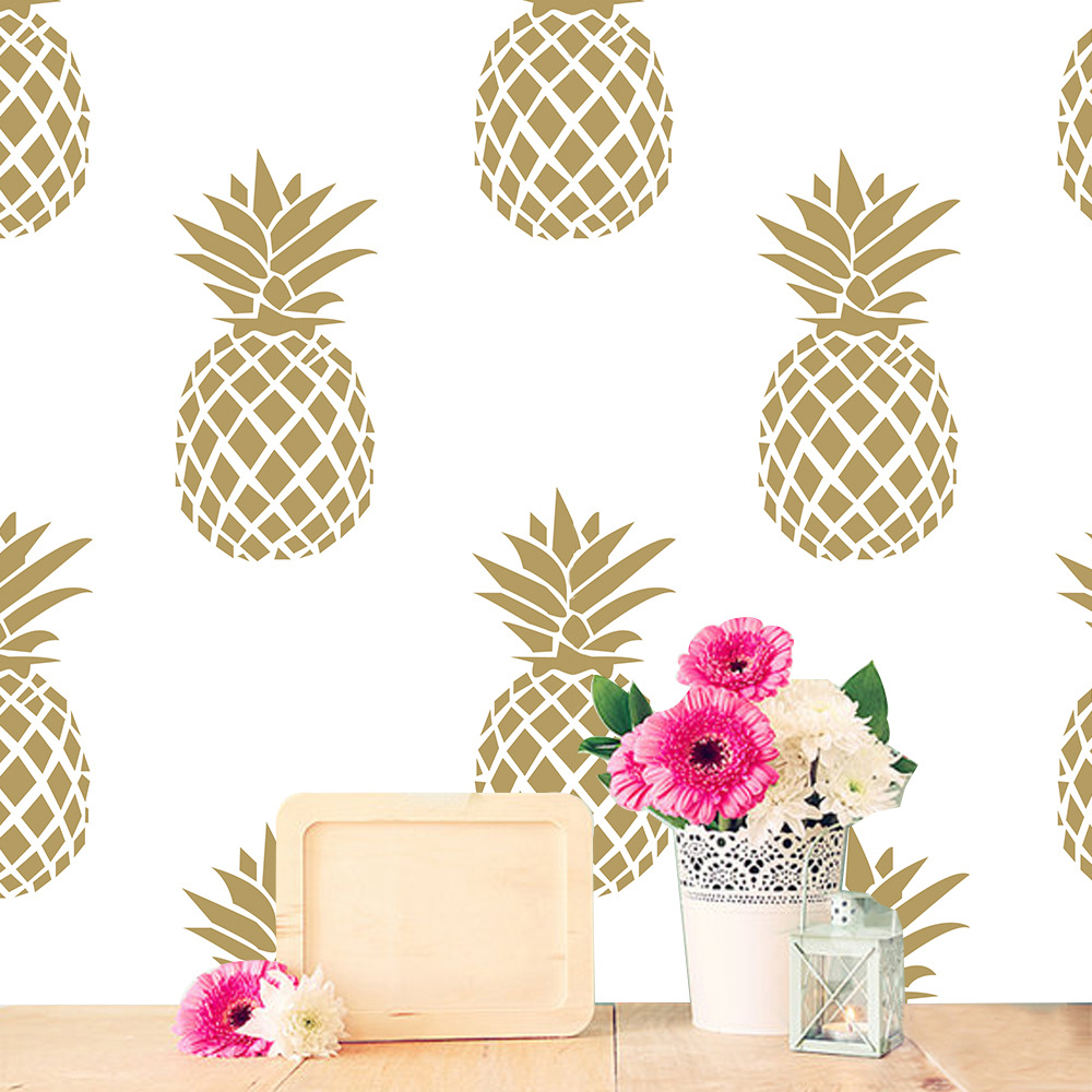 Creative gold pineapple pattern wall stickers living room ...