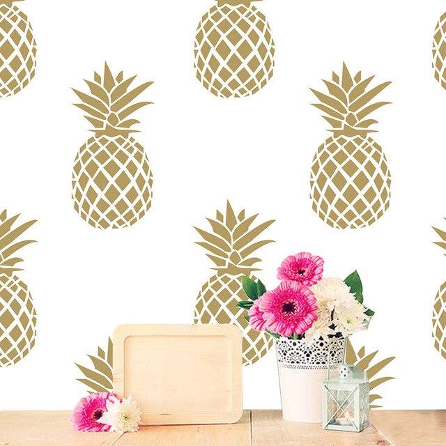Creative Gold Pineapple Pattern Wall Stickers Living Room Bedroom Door Cabinet Decoration Self
