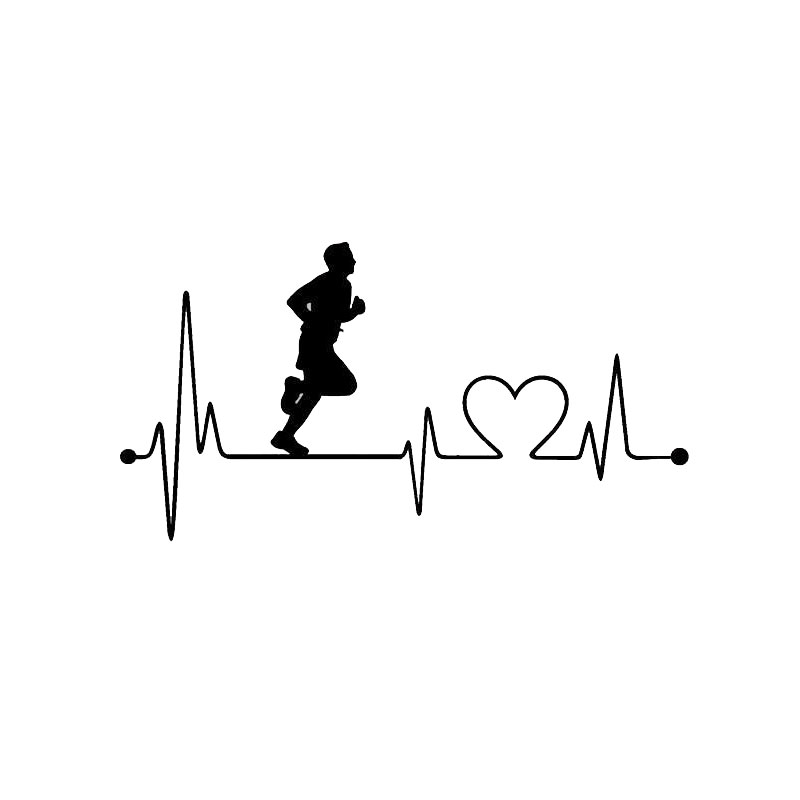 17.8CM*9.5CM Creative Fashion Guy Heartbeat Run Car Styling Vinyl Car Stickers S2-0407