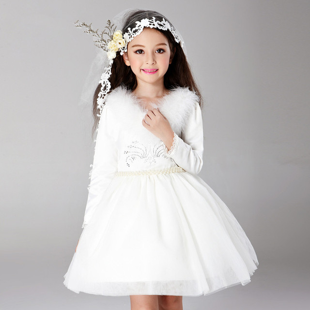 cc93091fc1 rep 2018 Spring Autumn Girls Winter Dress White Long Sleeved Wedding Flower  Girl Vestidos Party Costume For Holidays AKF165001