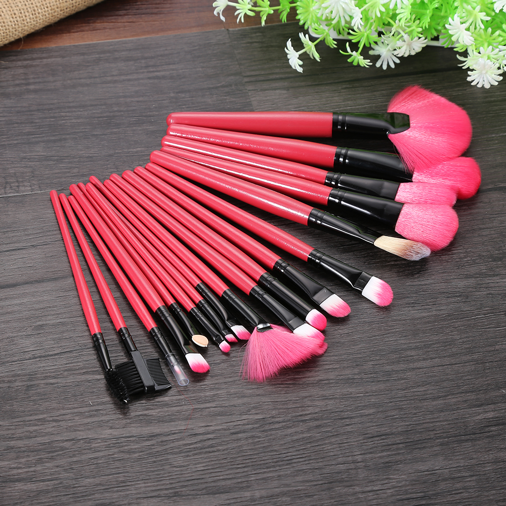 Premium Brand 18pcs Makeup Brush Set Foundation Blusher Kit with ROSE PU Leather Bag soft Make up Brushes Makeup Full set artdeco blusher 18 цвет 18 beige rose blush