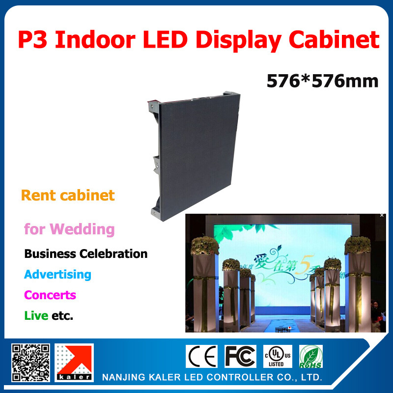 Kaler Indoor P3 Led Display Cabinet Die-casting Aluminum 576*576mm P3 SMD RGB Modules 192*96 Pixel 1/16 Scan P3 LED Panel