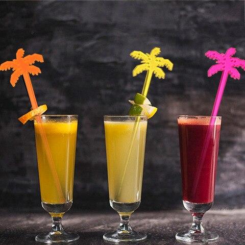 Árvore de Coco Varas de Plástico Acessórios para Bar Decoração para Atacado Picaretas Cocktail Swizzle Partido Boate 500 Pcs