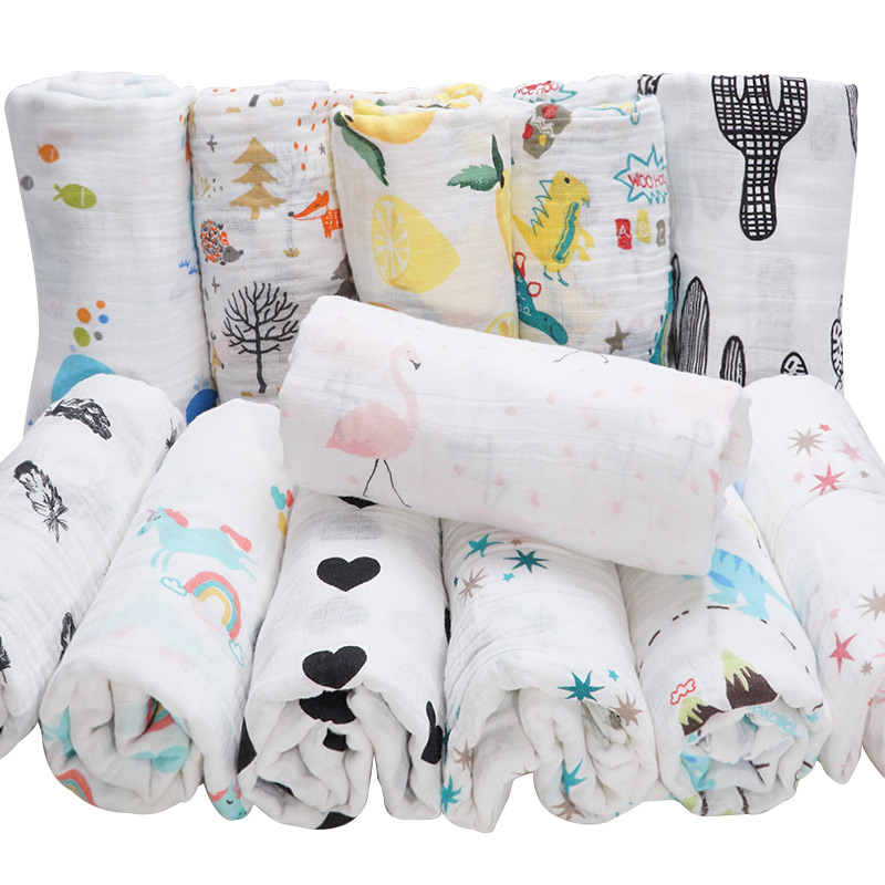 Dropshipping Cotton Baby Blankets Newborn Muslin Diaper Baby Swaddle Wrap Infantil Baby Bath Towel Stroller Baby Accessories