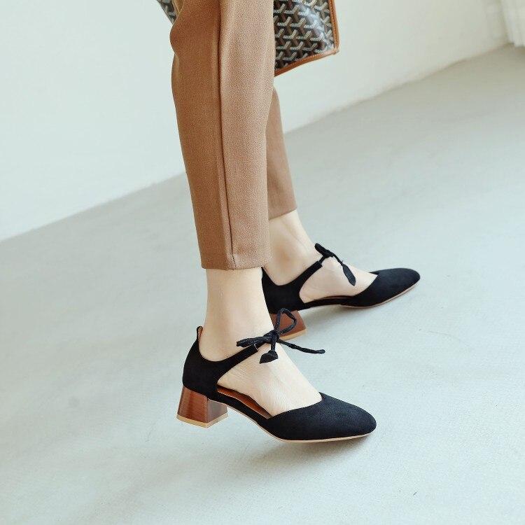 Grande taille 11 12 13 14 15 talons hauts sandales femmes chaussures femme été dames peu profonde carré bandeau pour sandales