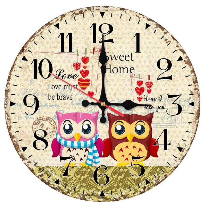2017 direct selling wall clock wooden clocks home decor quartz watch single face still life modern cartoon animals stickers