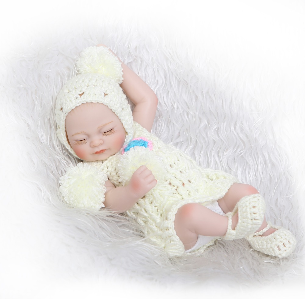NPK Doll Mini 11 Inch Full Body Silicone Reborn Dolls Sleeping Newborn Babies Bebe Reborn Realistic Doll For Kids Gift Bath Toys