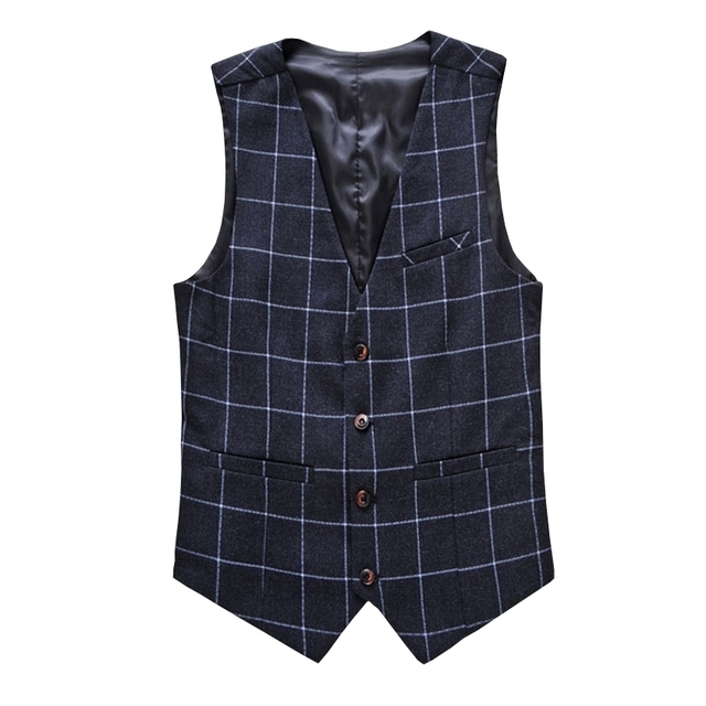 Spring New Fashion Men's Vests New Style Plaid Slim Fit Vest Men Gentleman Business Suit Vests Male Social Outwear Vest M-6XL