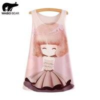WAIBO BEAR 2016 New Fashion Tank Tops Summer Tees Women Dress Girl Print Sleeveless T Shirt
