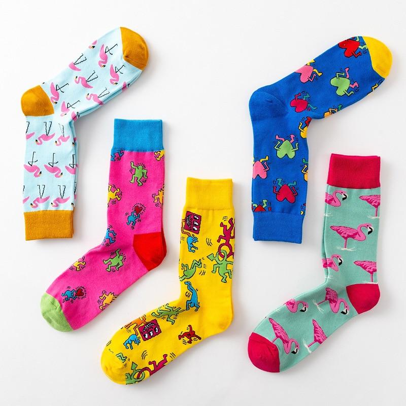 PEONFLY Новый личность оригинальность каракули носки для девочек книги по искусству Фламинго мода милые носки хлопковые с забавным Harajuku повсе...