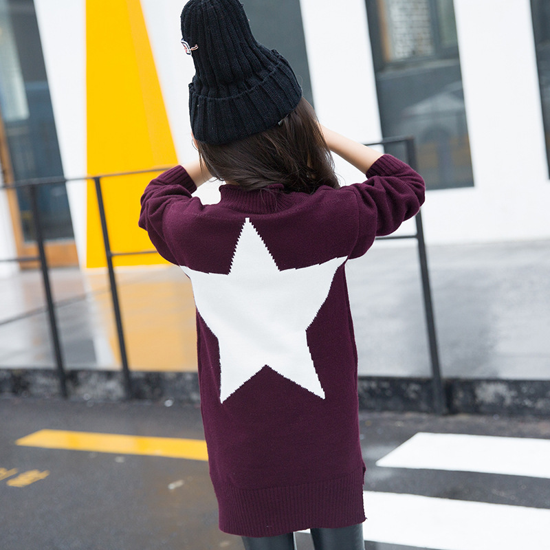 Girls Cardigan 2018 Winter Girl Sweater Dress Long Sleeve Kids Pullover Knitted Casual Star Girl Sweater Dress Children Clothes girls knitted dress sets children turtleneck long sleeve sweater suspenders two piece dress sets kids casual dress suits