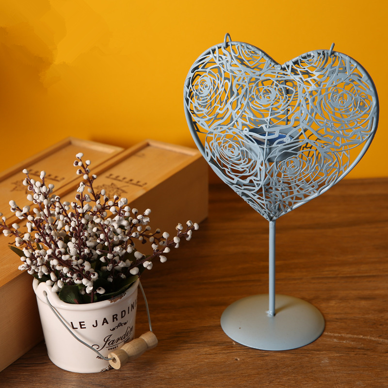 1pc heart shape candle holder tealight metal holder column holder home decoration wedding party decoration birthday gift in Candle Holders from Home Garden