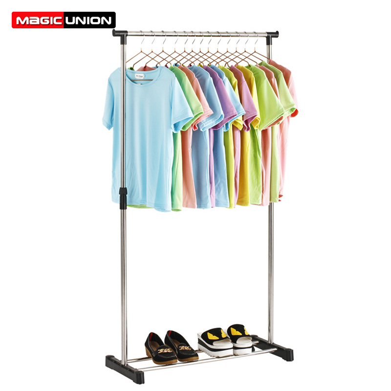 Hanger Stand-Rack Coat Clothing Floor Simple Indoor Magic Union Balcony Single-Rod Stainless-Steel