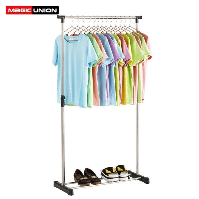 Magic Union Floor Standing Drying Rack Stainless Steel Single Rod Balcony Indoor Clothing Hanger Simple Coat Stand Rack