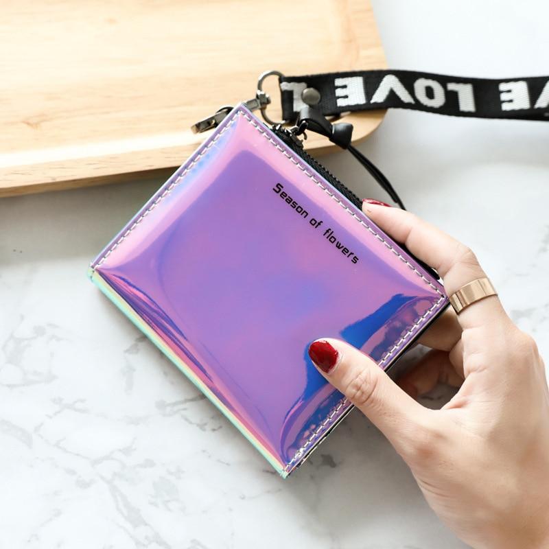 Moda pequena carteira feminina curto trifold fino bolsas senhoras saco de dinheiro coreano feminino holográfico carteira 2019 walet fino vallet