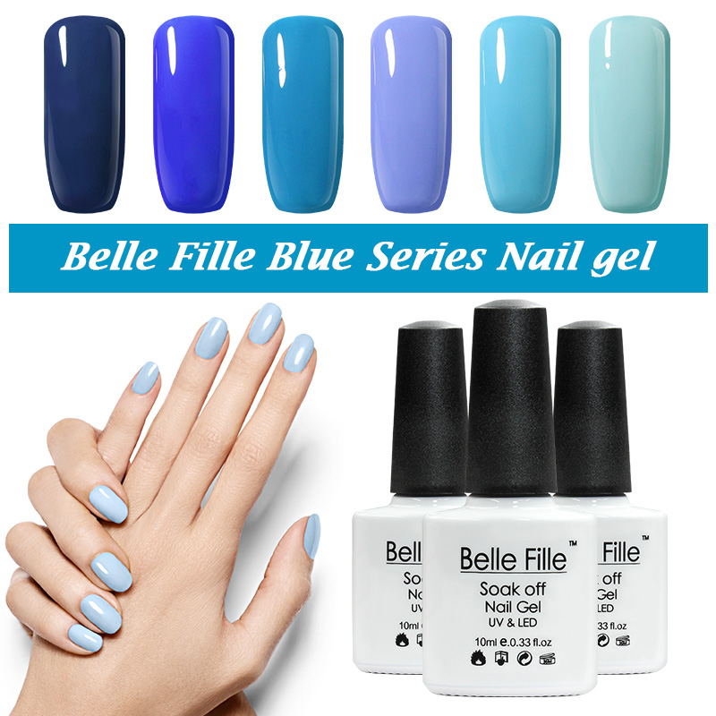Belle Fille Soak off UV Gel Nail Polish Blue series Nail Polish Gel LED Light UV Manicure for Gel Nail Fingernail Gel Polish