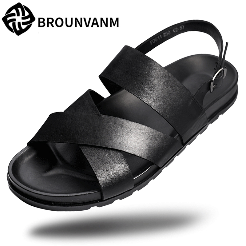 Mens Rome sandals Genuine Leather summer Sneakers Men Slippers Flip Flops casual Shoes beach outdoor anti-skid cowhide male