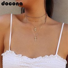 docona Boho Gold Color Flower Sword Pendant Necklace for Women Girl Charm Layered Necklace Statement Jewelry Collar 5371 stylish layered round pendant necklace for women