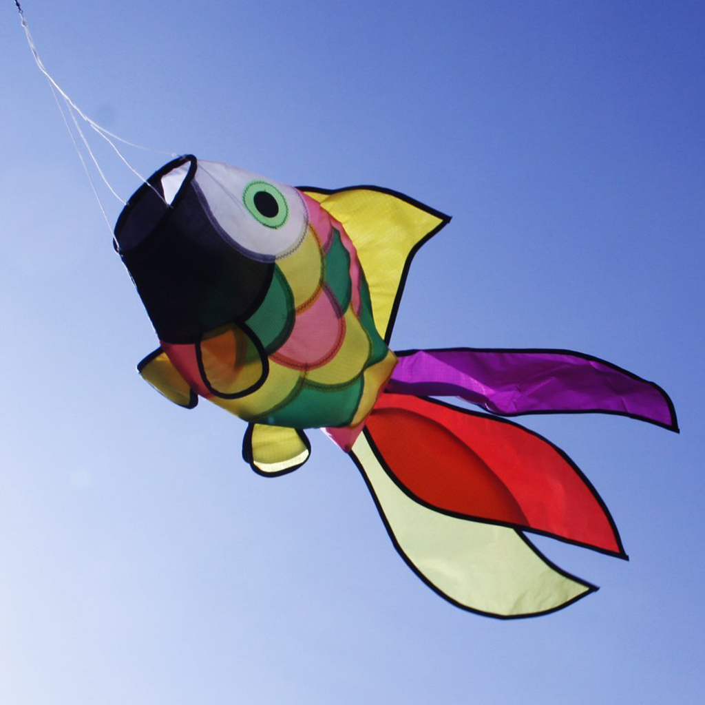 2pcs Rainbow Cute Fish Kite Windsock Wind Windsock Outdoor Toy Garden Decor