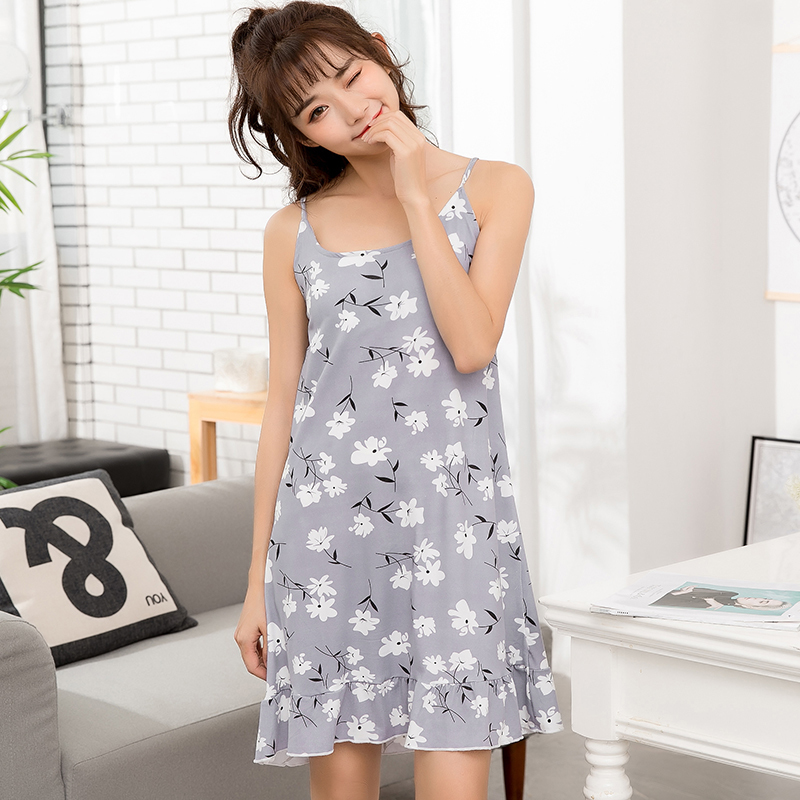 Hot sale 2018 summer sleeveless strap sexy print sweet sleepwear girls fresh and simple fashion home service nightdress ...