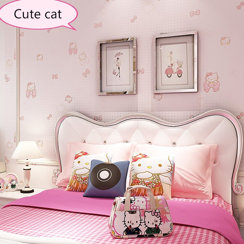 NEW baby health Kitty wallpaper bedroom girl room princess powder cartoon cute cat hello non-woven children's room wallpaper boy beibehang wall paper pune girl room cartoon children s room bedroom shop for environmental non woven wallpaper ocean mermaid