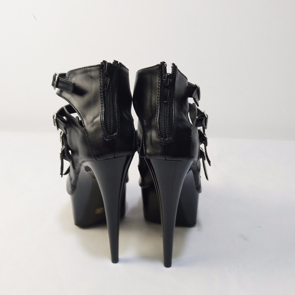 Gladiateur Chaussures Cm Nouvelle En Talons À Arrivée formes 15 Sandales Pu Grade Élégant Noir Hauts Haut Bout Ouvert Femmes Plates Cuir Mesure Sur qnF1fqrP
