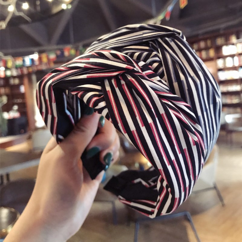 Korea Cloth Stripe Color Satching Hair Accessories For Girls Top Knot Cross Hair Band Hair Bow Headbands For Women  Hairband