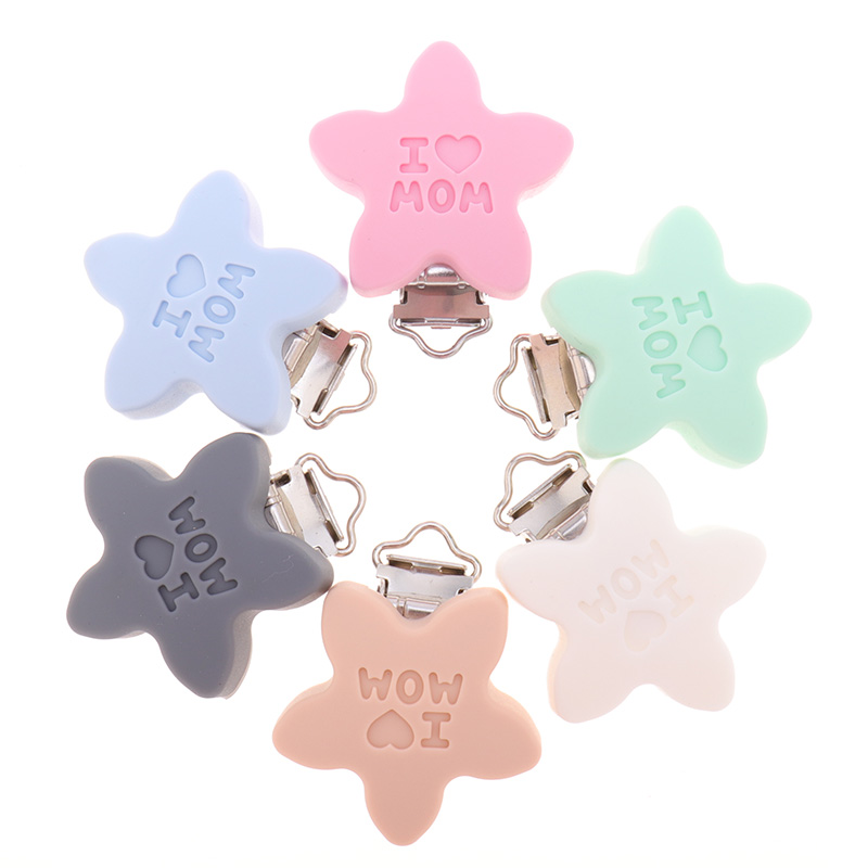 10pcs Silicone I Love MOM Clips BPA Free Baby Teether Teething Jewelry Accessories DIY Infant Pacifier Chain Holder Food Grade