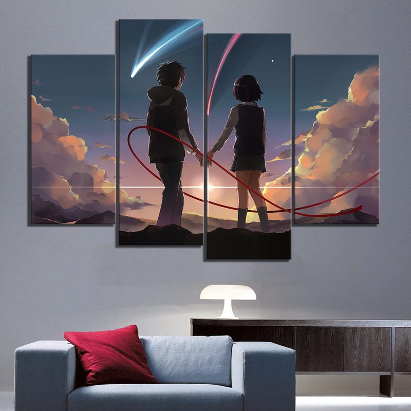 4 Panels Anime Couple Pictures YOUR NAME Cartoon Movie Poster HD Wall Pictures for Home Decor 1