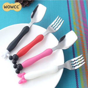 Stainless Steel Baby Mickey Minnie fork Spoon Kids Creative Portable Fork Spoon Child Mickey Spoon Cuchara Children Dinnerware