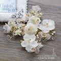 Charme de seda flor cabelo pente + menina grampos ganchinhos grampos de cabelo de strass cristal acessórios do casamento de noiva headpiece qr078