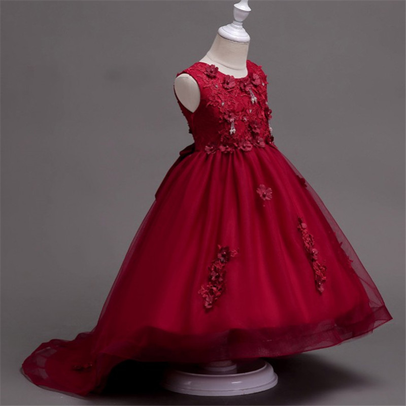 2018 New Sweet Flower Girl Dresses for Wedding Short Front Long Back Lace Party Ball Gown Little Girl Communion Pageant Dress