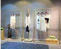 Clothing store display rack gold clothing rack women's wear store shelf hanging clothes rack clothes rack iron art simplicity.