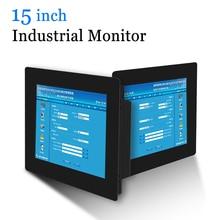 15 vga dvi hdmi monitor do computador do tela táctil resistive industrial do escudo de metal