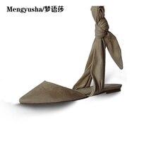 MengyushaSummer nieuwe tip teen platte met een vlinderdas hollow diamond casual vrouwen sandalen
