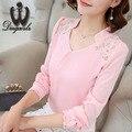 Элегантных Женщин Шифон блузка с длинными рукавами Лоскутная Дамы офис рубашка Мода Кружева Топы Плюс размер
