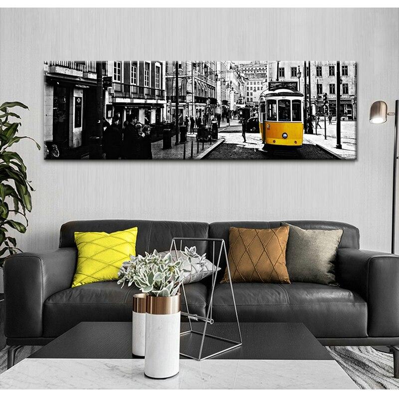 Mur Art toile peinture londres ville jaune voie Tram nordique affiches et impressions Vintage mur photos pour salon décor