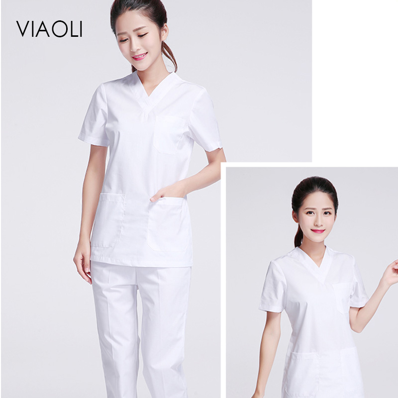Laboratory Clothes Dentist Surgical Suit Sets  New Hospital White Slim Medical Clothing Surgical Scrubs Medical Uniforms Women