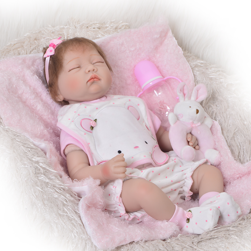 22inch silicone Reborn Dolls Kids Toys Cute sleeping quiet luxury accessories Baby Accompany Toy Enlightenment Dolls for sale22inch silicone Reborn Dolls Kids Toys Cute sleeping quiet luxury accessories Baby Accompany Toy Enlightenment Dolls for sale